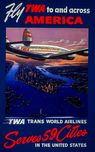 Poster, Airline - TWA, 1952 - Fly TWA To and Across America - Artist- Frank Soltesz