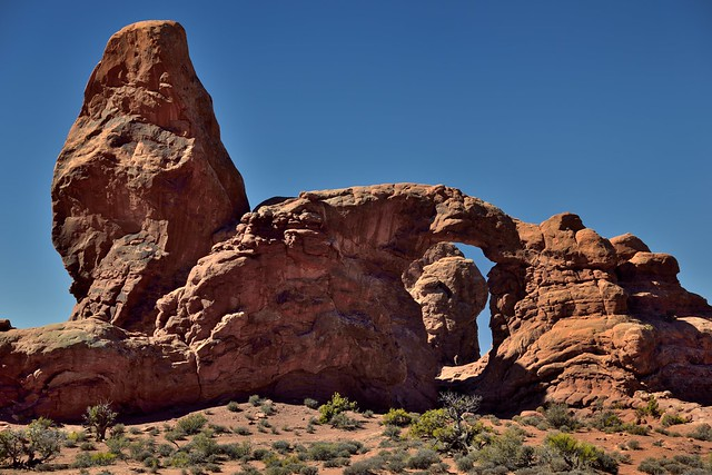 Turret Arch Under the Light of the Afternoon Sun (Arches National Park)