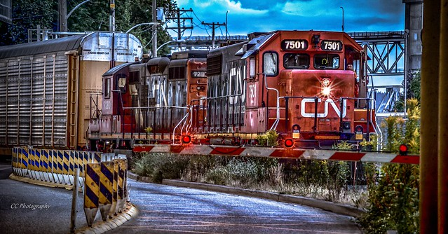 Running the Blue Hour - Canadian National Railway -  Engines 7501 & 7280