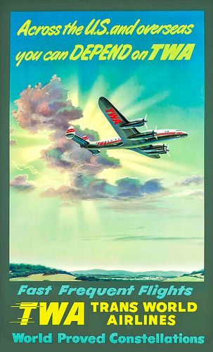 Poster, Airline - TWA, 1948 - You Can Depend on TWA - Artist- Frank Soltesz
