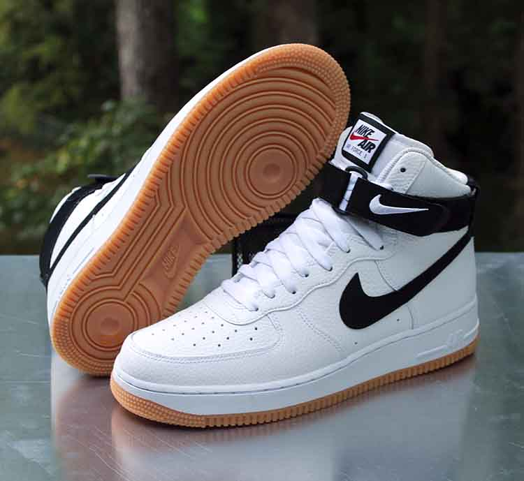 air force 1 black swoosh gum sole