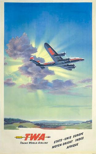 Poster, Airline - TWA, 1948 - TWA Etats-Unis Europe Moyen Orient Indes Afrique - Artist- Frank Soltesz