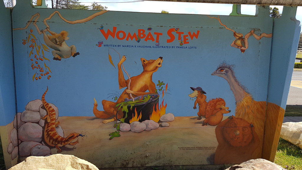 Wombat Stew Mural at the Bus Shelter, along with the other children's characters in Glenbrook NSW