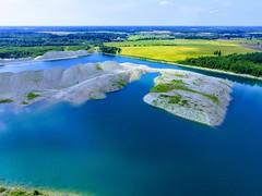 Veega täitunud Aidu põlevkivikarjäär / Water filled Aidu surface mine in Estonia