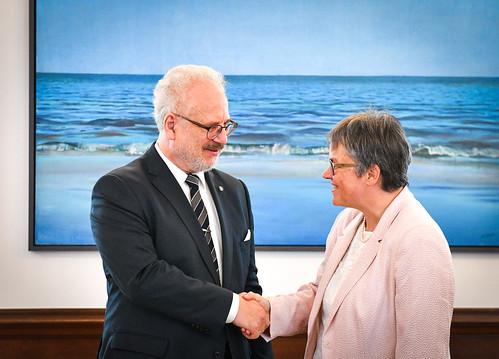 Valsts prezidenta Egila Levita tikšanās ar Eiropas Padomes Parlamentārās asamblejas prezidenti Liliānu Morī-Paskjē (Liliane Maury Pasquier)