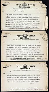 PREM1/331A (1-3) Telegram to Neville Chamberlain concerning Hitler's invasion of Poland 1939
