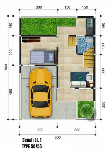 Denah lantai 1 tipe 50-55