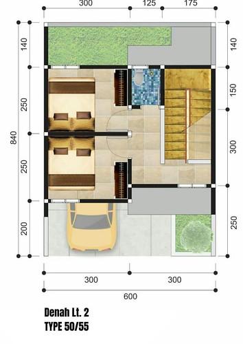 Denah lantai 2 tipe 50-55