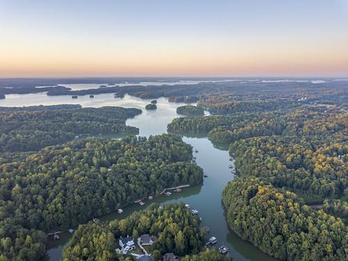 ronmayhew lakelanier sunrise harriscreek chestateebay aerial lake water sky