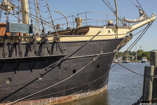 The bows of the sail training ship Joseph Conrad, ex Georg Stage; Mystic Seaport, Mystic, Connecticut, USA