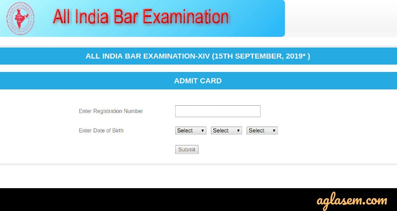 AIBE 2020 Admit Card for XV