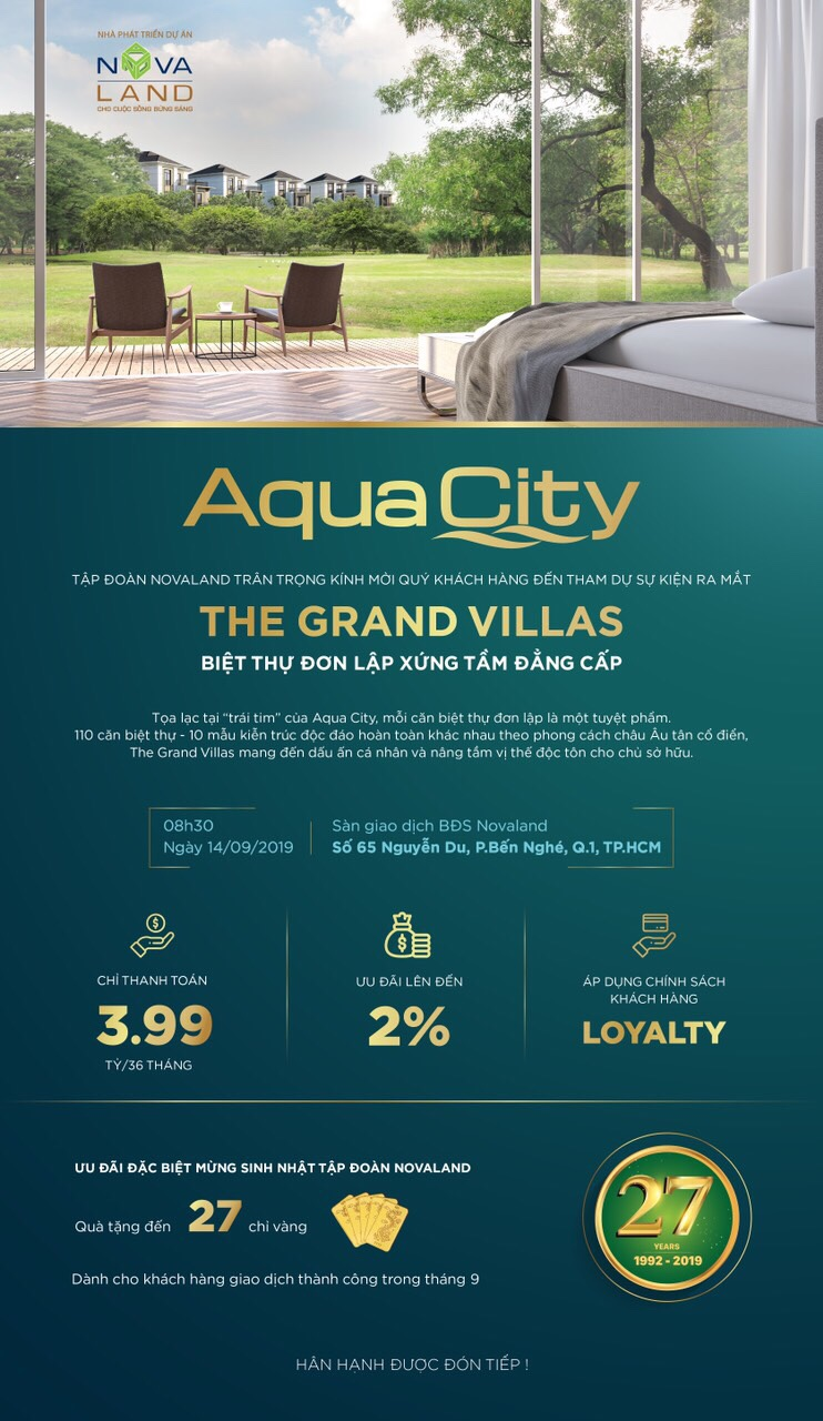 Ra mắt biệt thự đơn lập đẳng cấp Aqua City