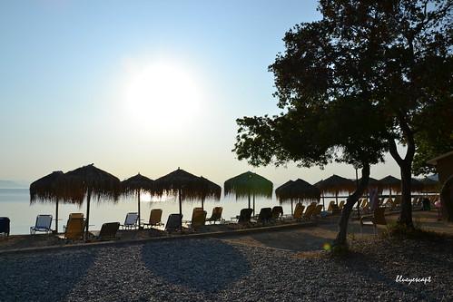 sunrise corfu greece sky sea beach