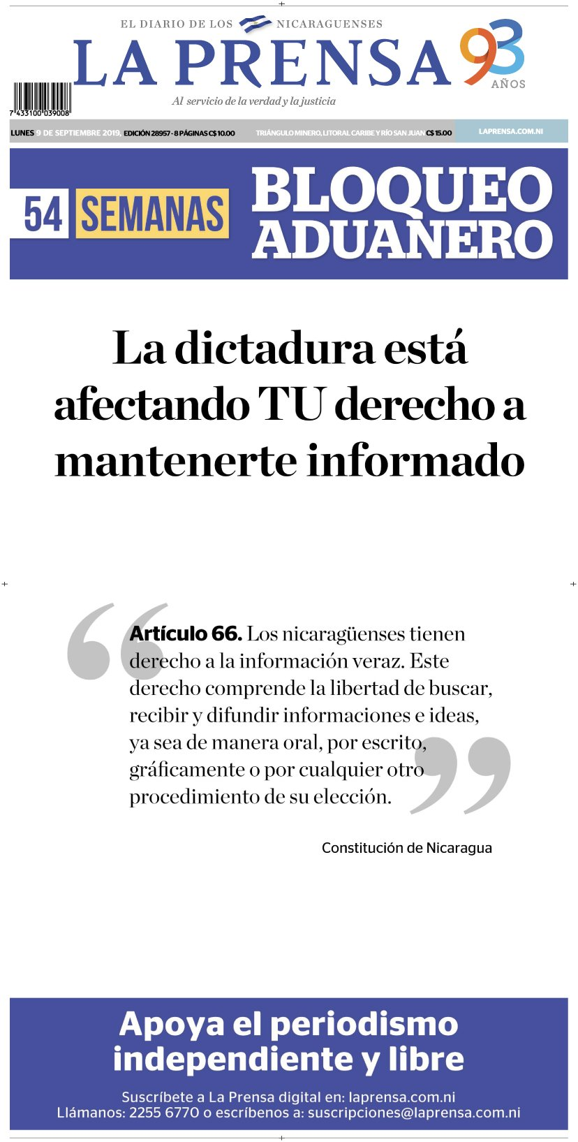 On the frontpage of its Sept. 9, 2019 edition, La Prensa published Article 66 of the constitution regarding the right to truthful information. (Screenshot)