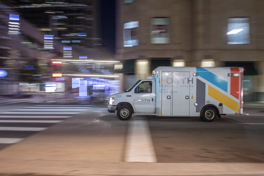 North Memorial Ambulance Speeds through Downtown
