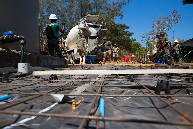 U.S. Marines build a walkway for a Timor-Leste Defense Force mess hall during Exercise Hari'i Hamutuk 2019
