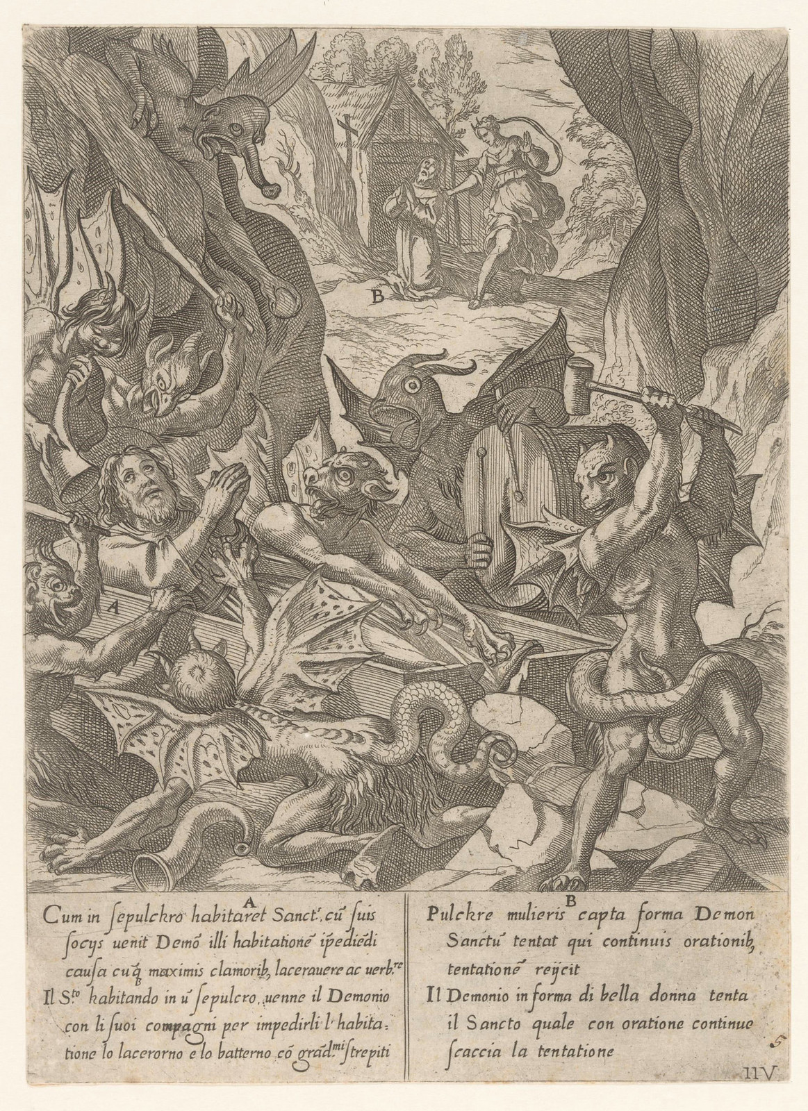 Antonio Tempesta, after Niccolo Circignani and Giovanni Battista Lombardelli - Saint Anthony With Demons - 05, 1598