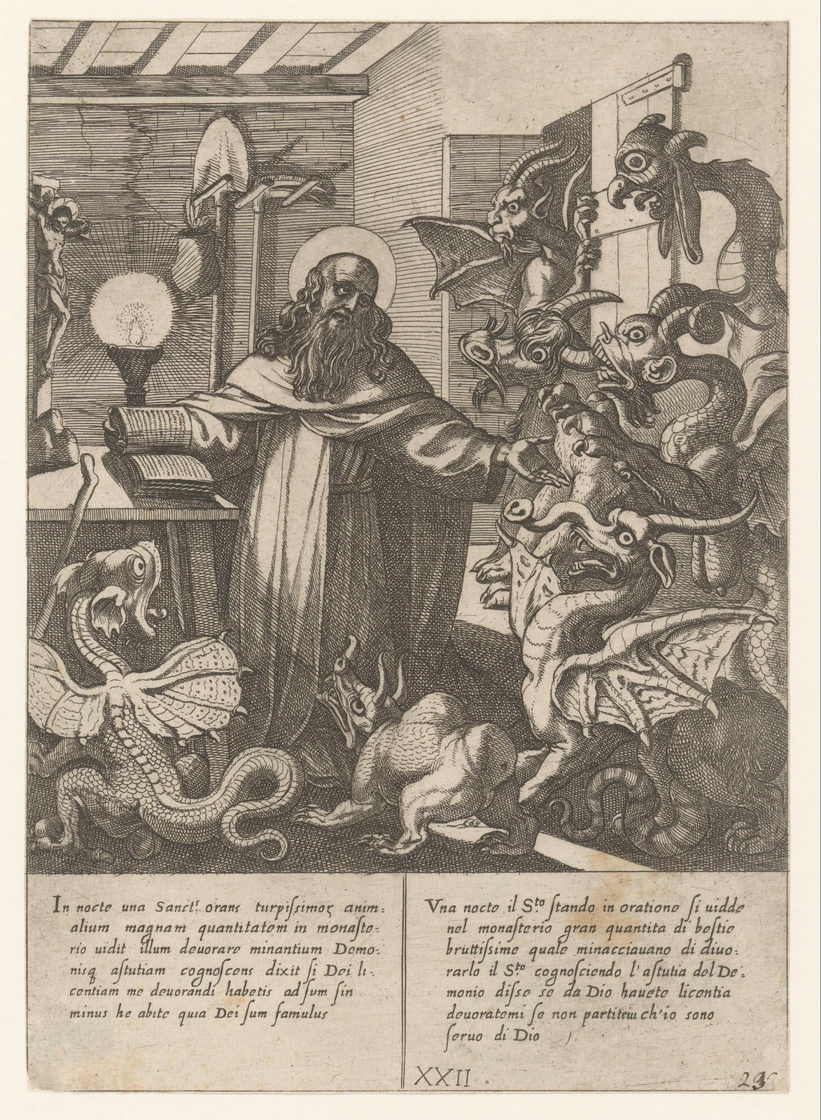Antonio Tempesta, after Niccolo Circignani and Giovanni Battista Lombardelli - Saint Anthony With Demons - 02, 1598