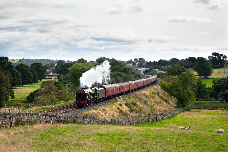 Following a two year overhaul, 46115 'Scots Guardsman' has returned to revenue earning service. Her first solo working heading the final Dalesman of 2019 is passing Fiddlers Lane, Lazonby on 10th September.