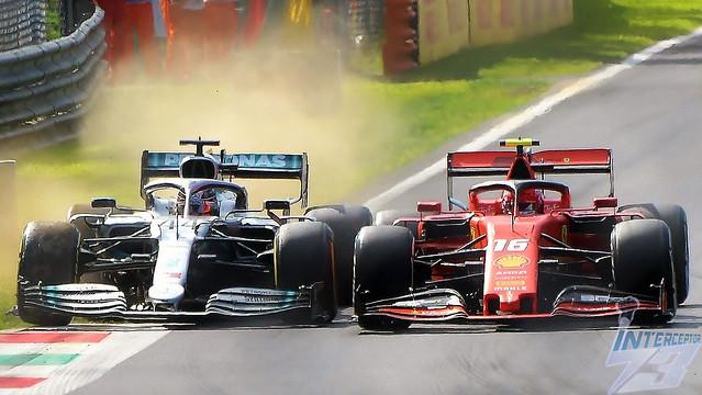 Charles Leclerc, Ferrari SF90 holds off Lewis Hamilton, Mercedes F1 W10, 2019 Italian Grand Prix, Monza, 8th September