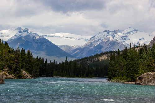 bowfalls landscape river mountains nature travel banff