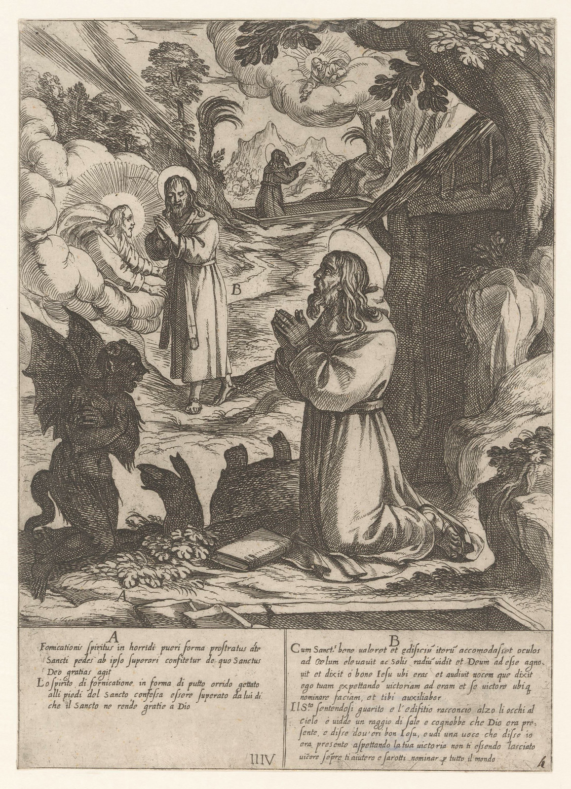 Antonio Tempesta, after Niccolo Circignani and Giovanni Battista Lombardelli - Saint Anthony With Demons - 06, 1598