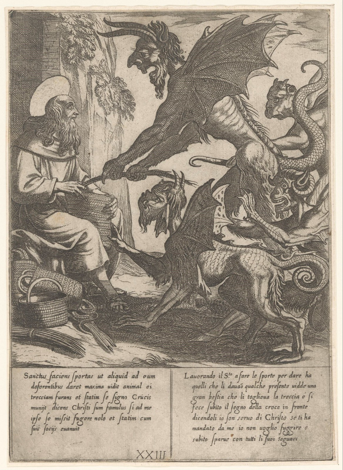 Antonio Tempesta, after Niccolo Circignani and Giovanni Battista Lombardelli - Saint Anthony With Demons - 01, 1598