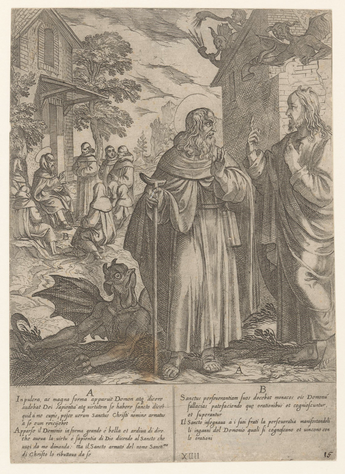 Antonio Tempesta, after Niccolo Circignani and Giovanni Battista Lombardelli - Saint Anthony With Demons - 04, 1598