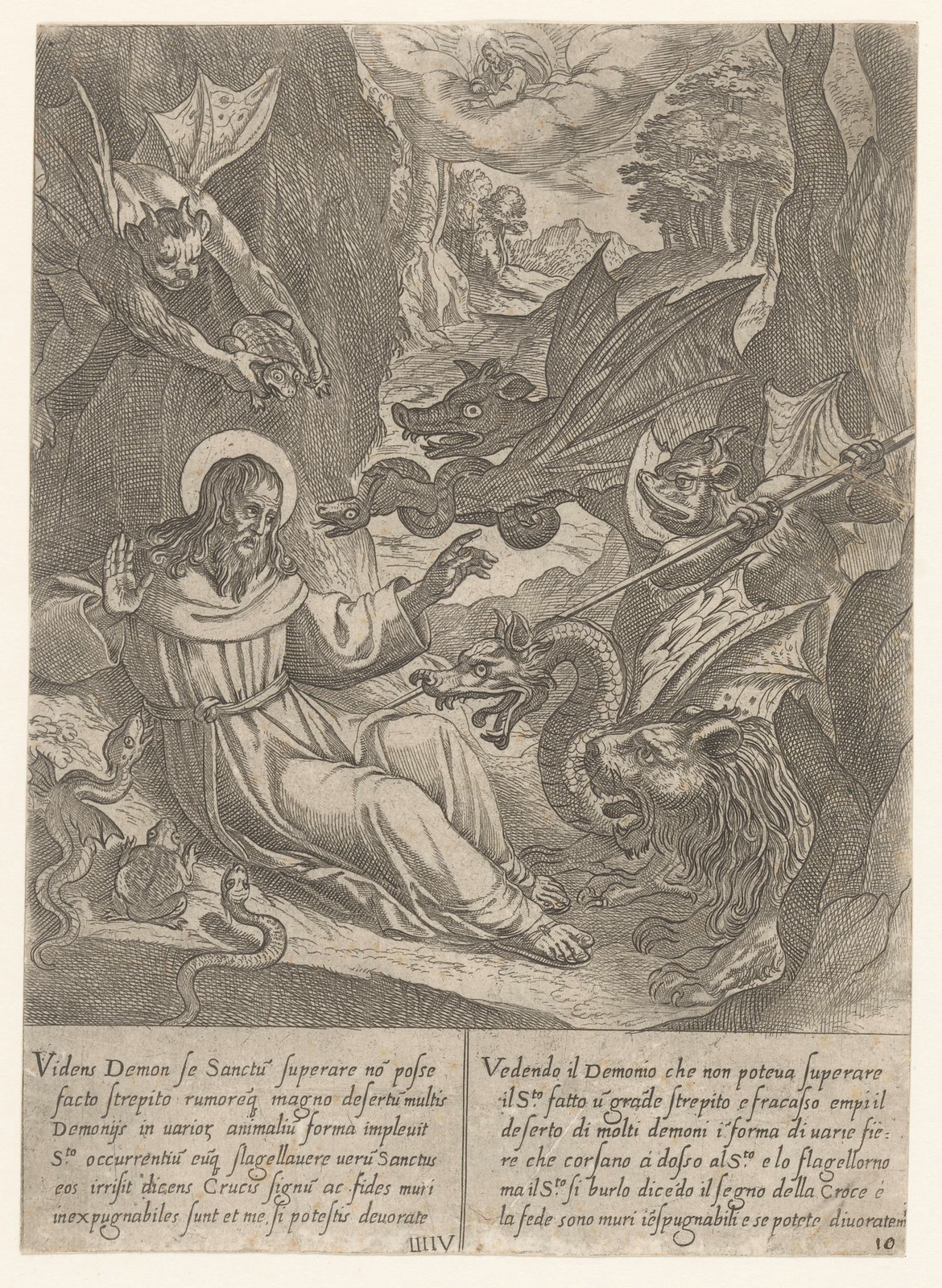 Antonio Tempesta, after Niccolo Circignani and Giovanni Battista Lombardelli - Saint Anthony With Demons - 03, 1598