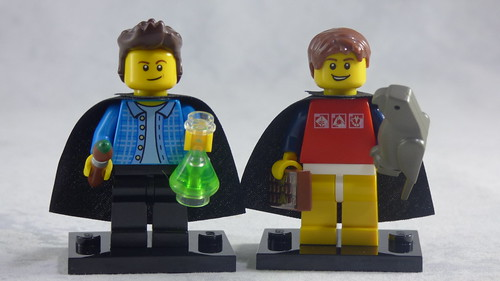 Brick Yourself Custom Lego Figures - Caped Brothers with Paintbrush, Chemistry Flask, Chocolate & Pet Parrot | by BrickManDan