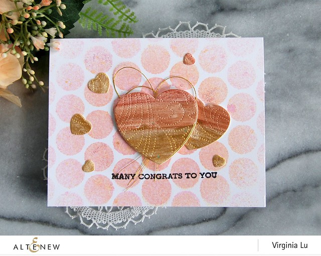 Altenew-MetallicWatercolorPan Set-DottedSwirlsDebossingCoverDie-HalftoneHeartDie-Virginia#3