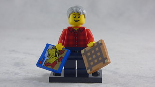 Brick Yourself Custom Lego Figure - Happy Grandad with Box of Lego & Board Game | by BrickManDan