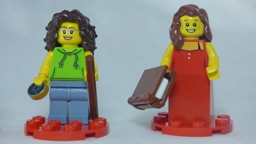 Brick Yourself Custom Lego Figures - Hiker with Compass & Lady in Dinner Dress with Book | by BrickManDan