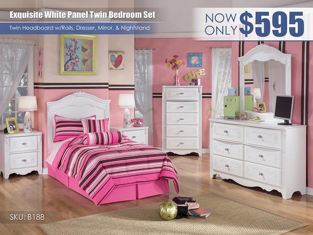 Exquisite Twin Panel Headboard Bedroom Set_B188-21-26-46-53-92