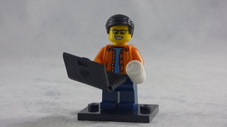 Brick Yourself Custom Lego Figure - Happy Guy with Laptop & Take-out Coffee | by BrickManDan