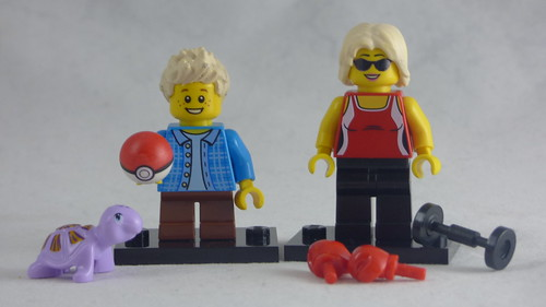 Brick Yourself Custom Lego Figures - Mum with Boxing Gloves & Son with Pokemon Ball & Pet Turtel | by BrickManDan