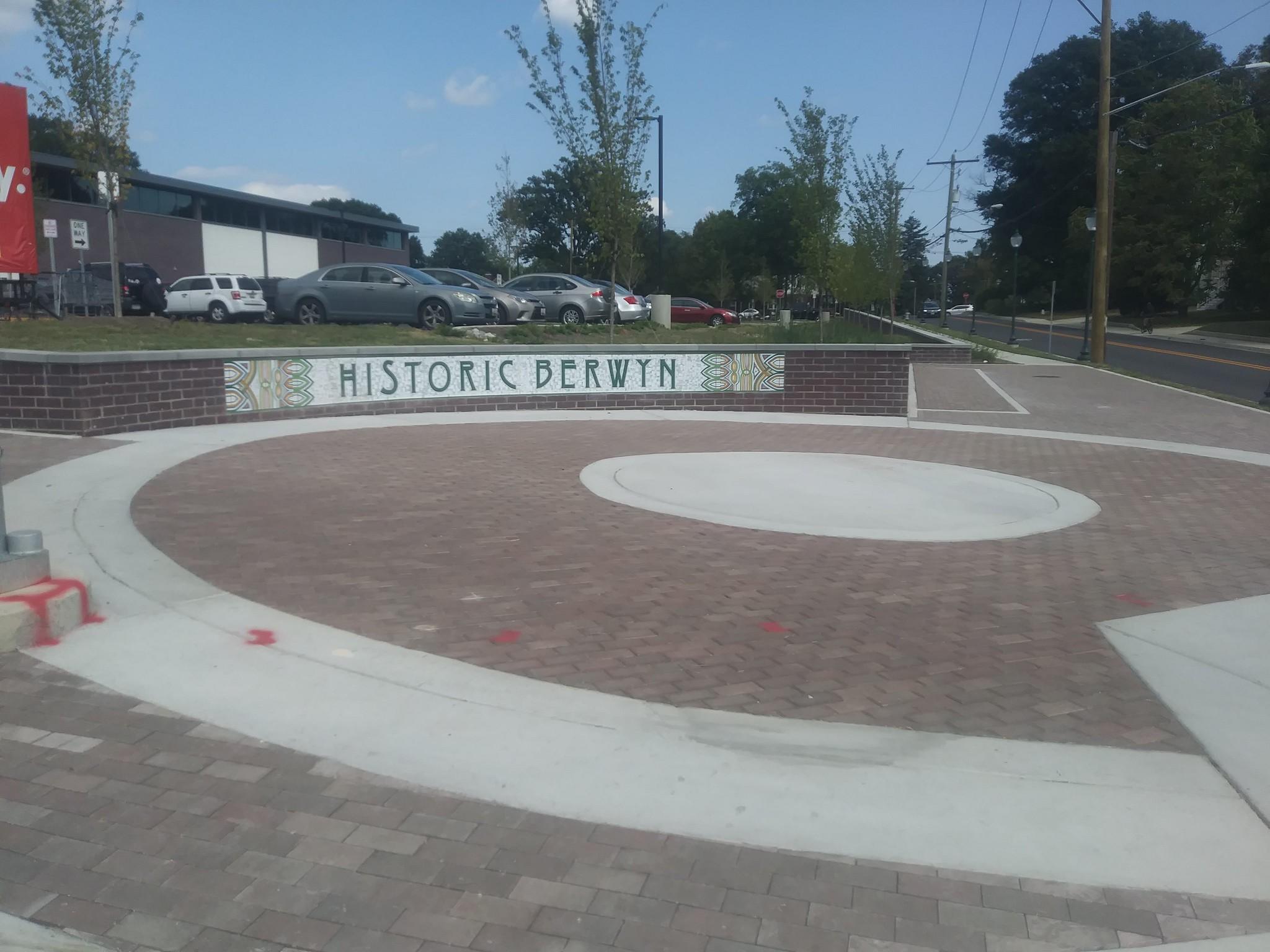 Special sidewalk intersection treatment in Berwyn, Maryland on Route 1