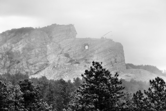 A Minimialistic Image of the Crazy Horse Memorial and Thunderhead Mountain Hidden in the Clouds (Black & White)