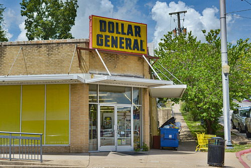 ar south arkansas usa united states america north blue sky summer clouds dollar general doors windows store grocery corner garbage bin sidewalk business entrance trees