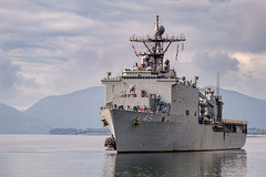 USS Comstock (LSD 45) approaches the pier in Kodiak, Alaska, Sept. 10. (U.S. Navy/MCCS Brandon Raile)