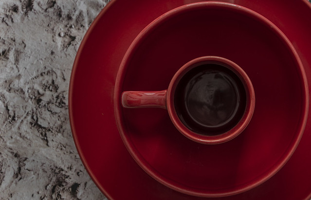 Set of red plate, red bowl and red mug