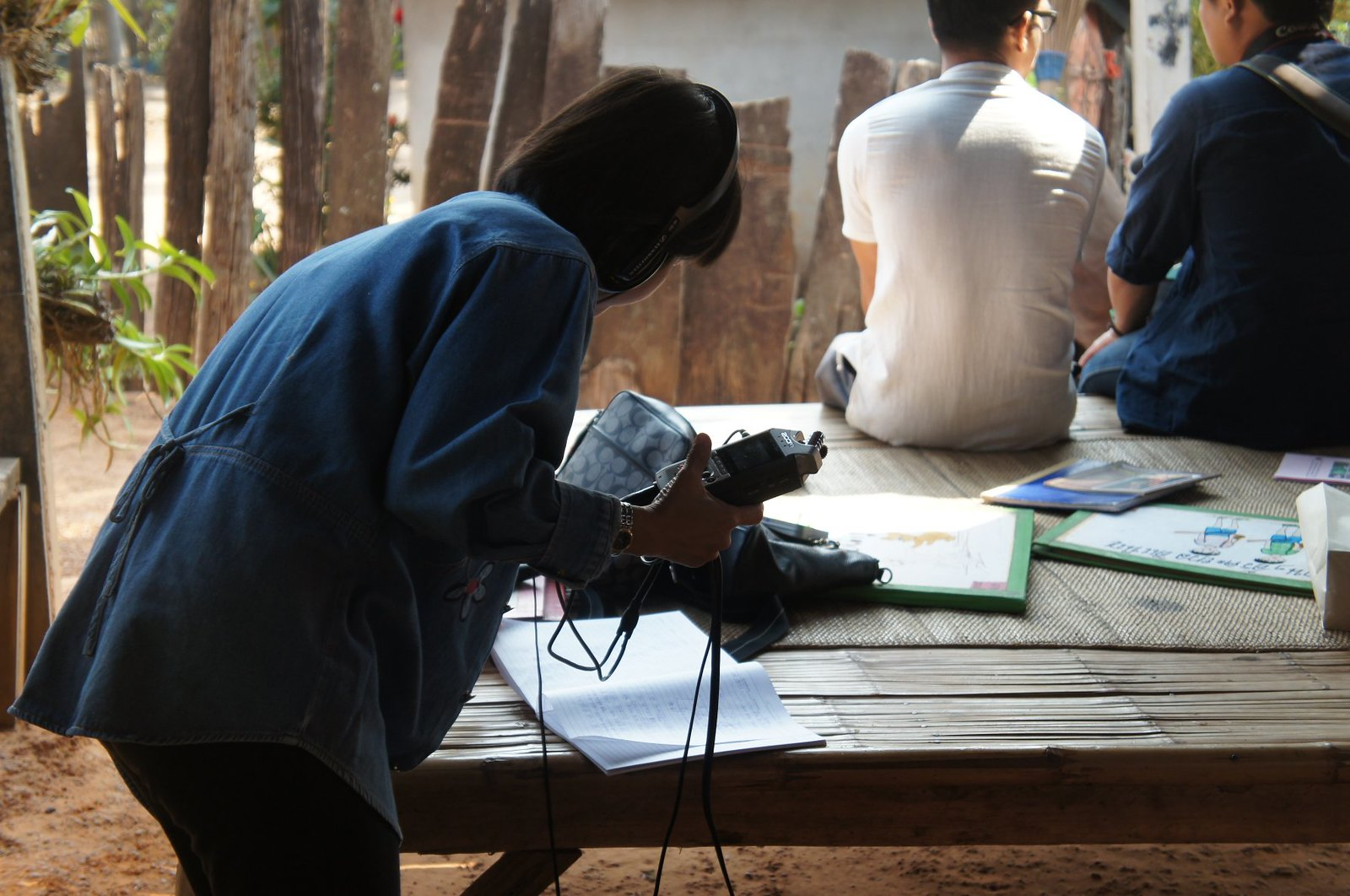Recording storytelling in the Nyah Kur village