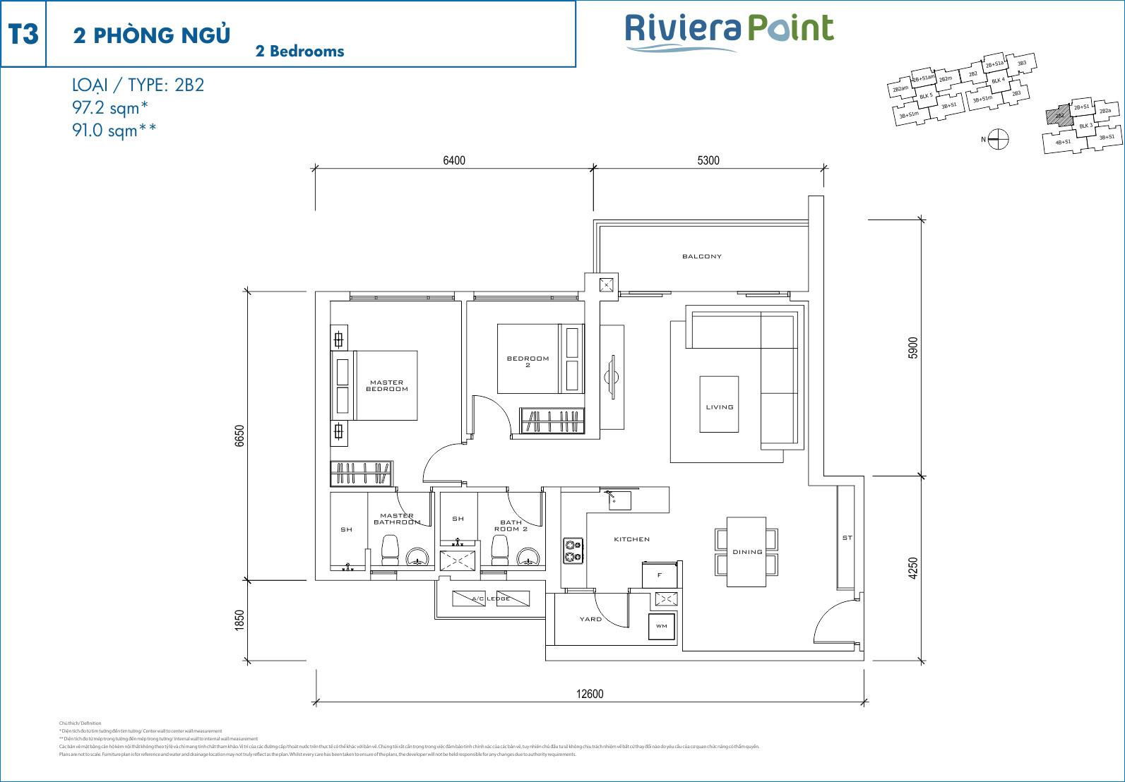 Cho thuê căn hộ The View - Riviera Point 2 phòng ngủ tại quận 7.