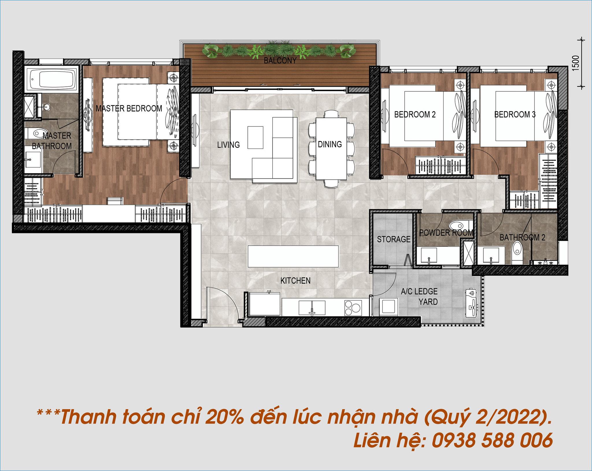 Căn hộ có thiết kế hiện đại, tiết kiệ năng lượng, phòng khách và balcony rộng, view sông Sài Gòn.