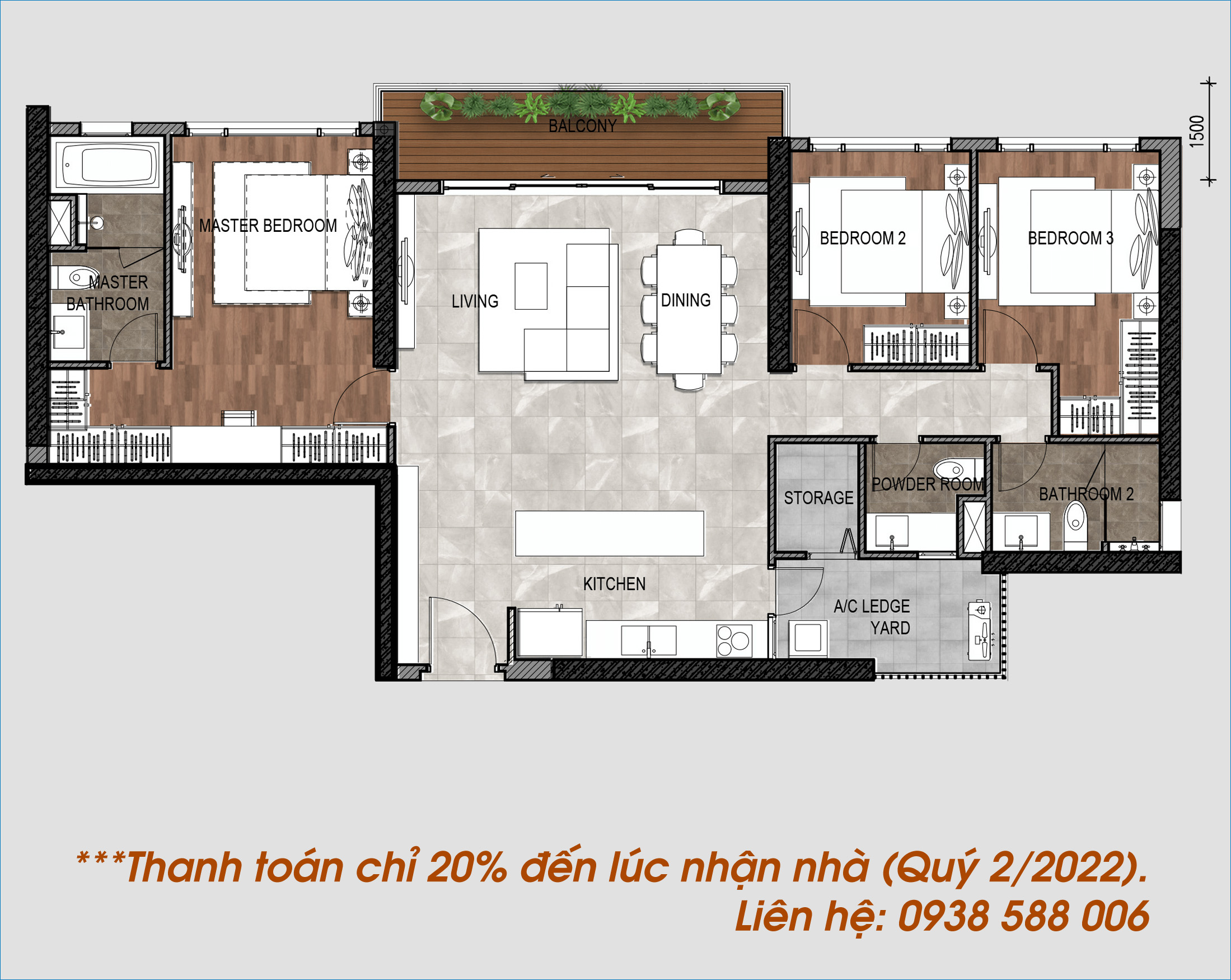 Thiết kế căn hộ 3 phòng ngủ The Infiniti quận 7.