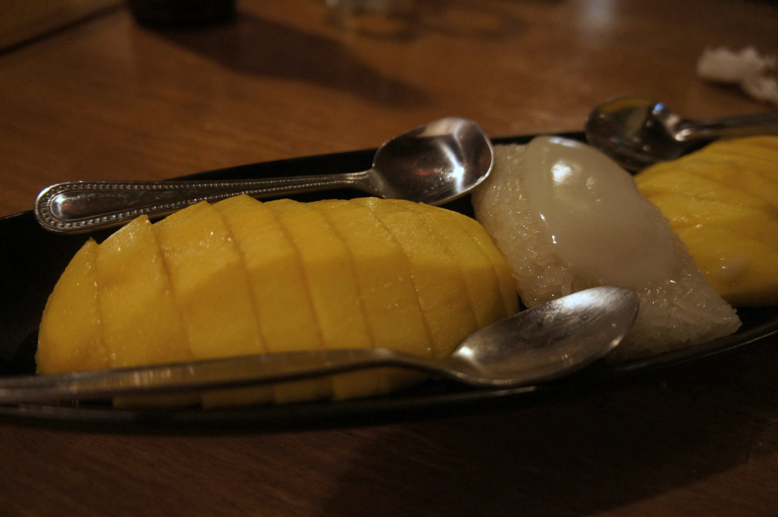 Sticky coconut rice with mango at Steve's hidden riverside Café