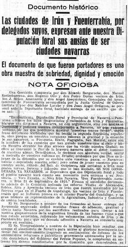 noticia del Diario de Navarra, nº 10.687, miércoles, 23 de setiembre de 1936