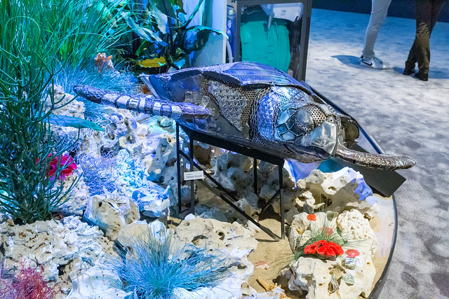 Recycled Art: Sea turtle created with metal and plastic by Sculptor and Painter Tarkan Güveli