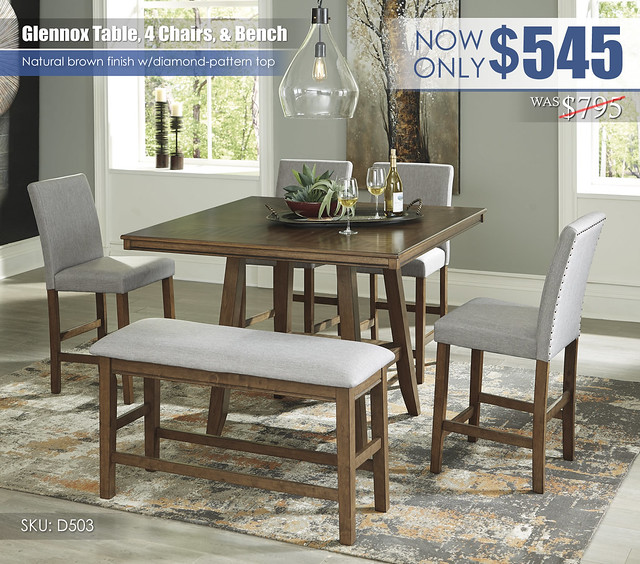 Glennox Counter Height Dining Table Chairs and Bench_D503-13-124(4)-09