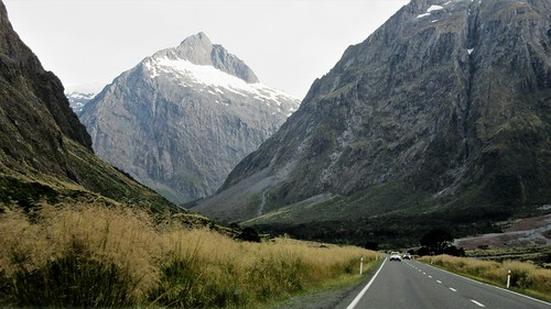 mounttalbot milfordsound highway94 flickrtravelaward southland southisland newzealand nz mountain road highway residualsnow southernalps